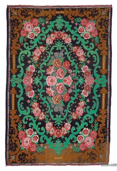 "Vintage Handwoven Moldovan Kilim Area Rug - 6' 9"" x 10' 4"" (81 in. x 124 in.)"