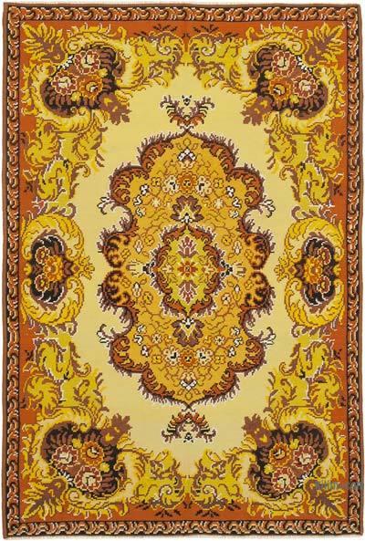 "Vintage Handwoven Moldovan Kilim Area Rug - 6' 7"" x 9' 10"" (79 in. x 118 in.)"
