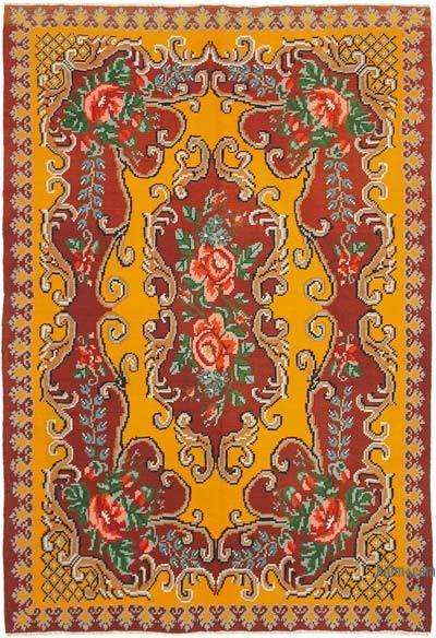 "Vintage Handwoven Moldovan Kilim Area Rug - 6' 4"" x 9'  (76 in. x 108 in.)"