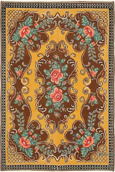 "Vintage Handwoven Moldovan Kilim Area Rug - 5' 9"" x 8' 7"" (69 in. x 103 in.)"