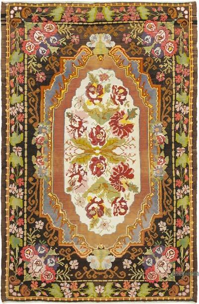 "Vintage Handwoven Moldovan Kilim Area Rug - 7' 1"" x 10' 11"" (85 in. x 131 in.)"
