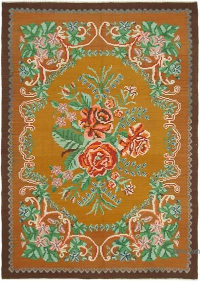 "Vintage Handwoven Moldovan Kilim Area Rug - 5'7"" x 7'9"" (67 in. x 93 in.)"
