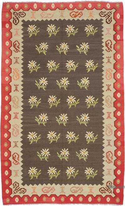 "Vintage Handwoven Moldovan Kilim Area Rug - 6'7"" x 11' (79 in. x 132 in.)"