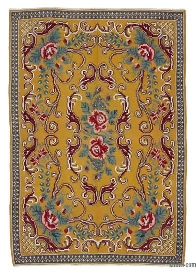 "Vintage Handwoven Moldovan Kilim Area Rug - 5'6"" x 8' (66 in. x 96 in.)"