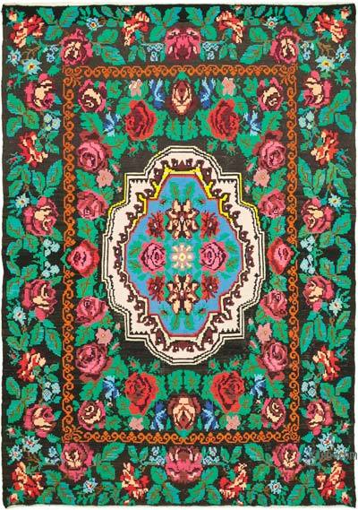 "Vintage Handwoven Moldovan Kilim Area Rug - 6' 7"" x 9' 1"" (79 in. x 109 in.)"