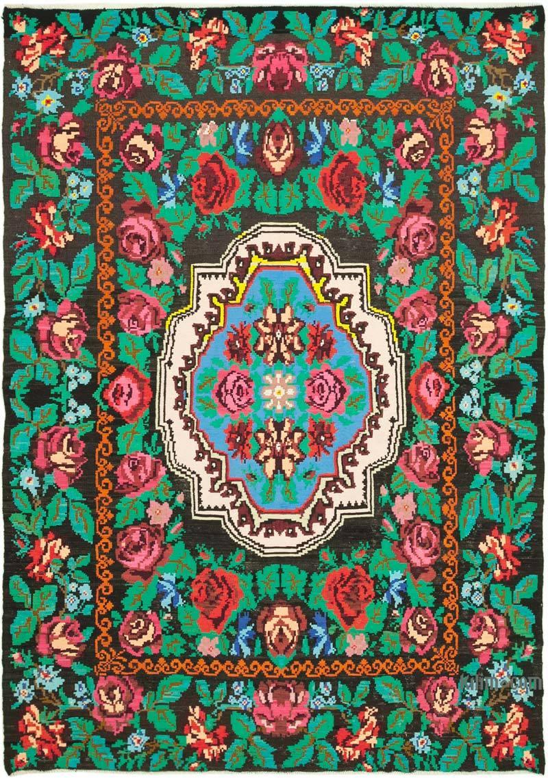 """Multicolor Vintage Handwoven Moldovan Kilim Area Rug - 6' 7"""" x 9' 1"""" (79 in. x 109 in.) - K0039166"""