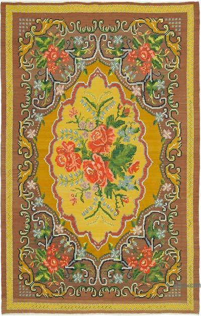 "Vintage Handwoven Moldovan Kilim Area Rug - 6'7"" x 9'9"" (79 in. x 117 in.)"