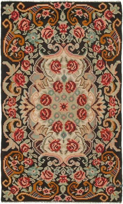 "Vintage Handwoven Moldovan Kilim Area Rug - 5' 9"" x 9' 4"" (69 in. x 112 in.)"