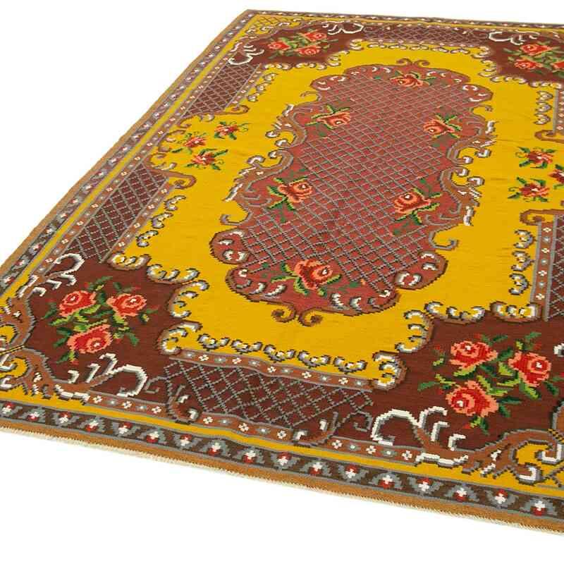 """Multicolor Vintage Handwoven Moldovan Kilim Area Rug - 5' 8"""" x 8' 8"""" (68 in. x 104 in.) - K0039173"""