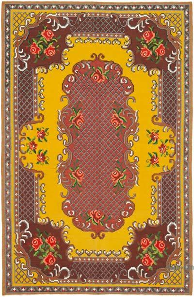 "Vintage Handwoven Moldovan Kilim Area Rug - 5' 8"" x 8' 8"" (68 in. x 104 in.)"