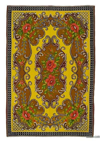 "Vintage Handwoven Moldovan Kilim Area Rug - 5' 9"" x 8' 6"" (69 in. x 102 in.)"