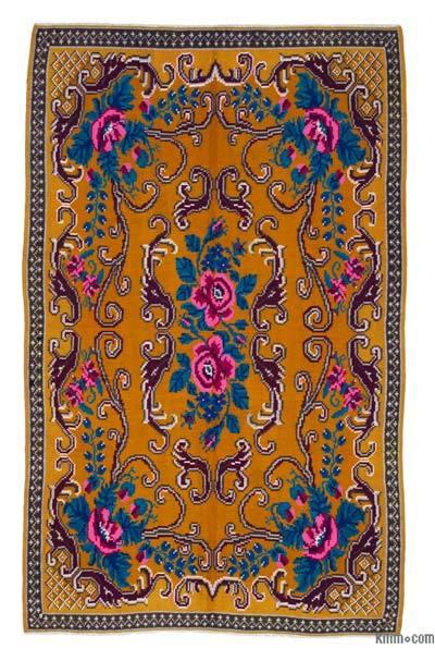 "Vintage Handwoven Moldovan Kilim Area Rug - 5'6"" x 8'10"" (66 in. x 106 in.)"
