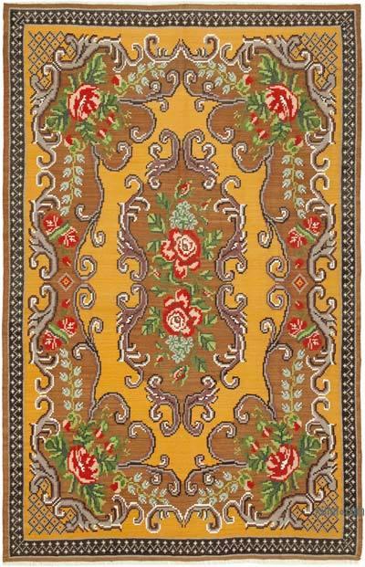 "Vintage Handwoven Moldovan Kilim Area Rug - 6' x 9'2"" (72 in. x 110 in.)"