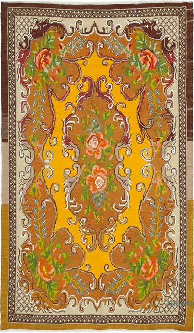 "Vintage Handwoven Moldovan Kilim Area Rug - 5'9"" x 9'3"" (69 in. x 111 in.)"