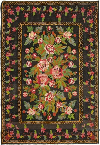 "Vintage Handwoven Moldovan Kilim Area Rug - 6'4"" x 8'10"" (76 in. x 106 in.)"