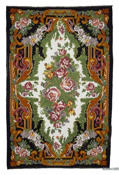 "Vintage Handwoven Moldovan Kilim Area Rug - 8'1"" x 12'10"" (97 in. x 154 in.)"