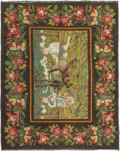 "Vintage Handwoven Moldovan Kilim Area Rug - 6'4"" x 7'10"" (76 in. x 94 in.)"