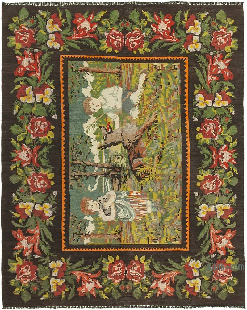 Çok Renkli Vintage Moldova Kilimi - 192 cm x 240 cm - K0039181