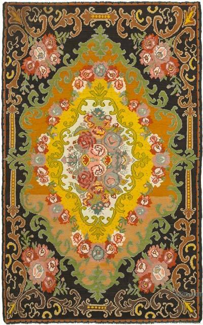 "Vintage Handwoven Moldovan Kilim Area Rug - 6'10"" x 10'10"" (82 in. x 130 in.)"