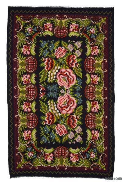 "Vintage Handwoven Moldovan Kilim Area Rug - 6'2"" x 9'11"" (74 in. x 119 in.)"