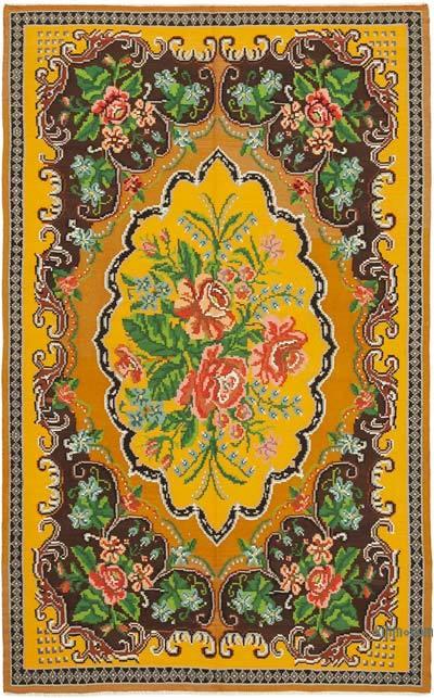 """Multicolor Vintage Handwoven Moldovan Kilim Area Rug - 6' 4"""" x 9' 9"""" (76 in. x 117 in.)"""
