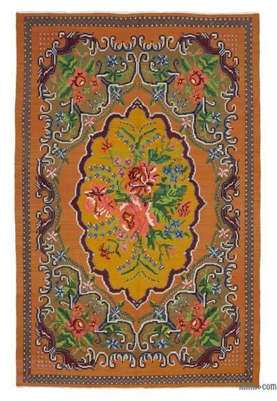 "Vintage Handwoven Moldovan Kilim Area Rug - 6'5"" x 9'10"" (77 in. x 118 in.)"