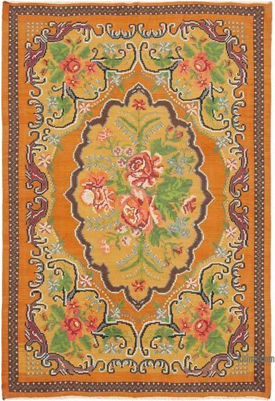 "Vintage Handwoven Moldovan Kilim Area Rug - 6'4"" x 9'3"" (76 in. x 111 in.)"
