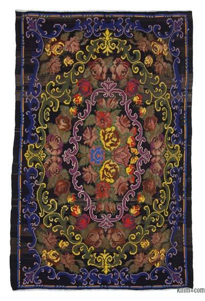"Vintage Handwoven Moldovan Kilim Area Rug - 6'3"" x 10' (75 in. x 120 in.)"