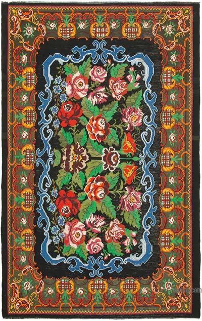 "Vintage Handwoven Moldovan Kilim Area Rug - 6' 7"" x 10' 2"" (79 in. x 122 in.)"