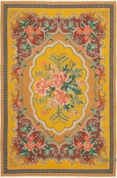 "Vintage Handwoven Moldovan Kilim Area Rug - 6' 6"" x 9' 7"" (78 in. x 115 in.)"