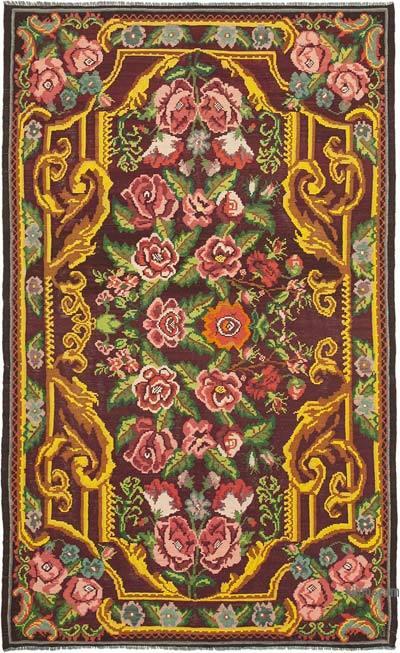 "Vintage Handwoven Moldovan Kilim Area Rug - 6' 8"" x 10' 6"" (80 in. x 126 in.)"