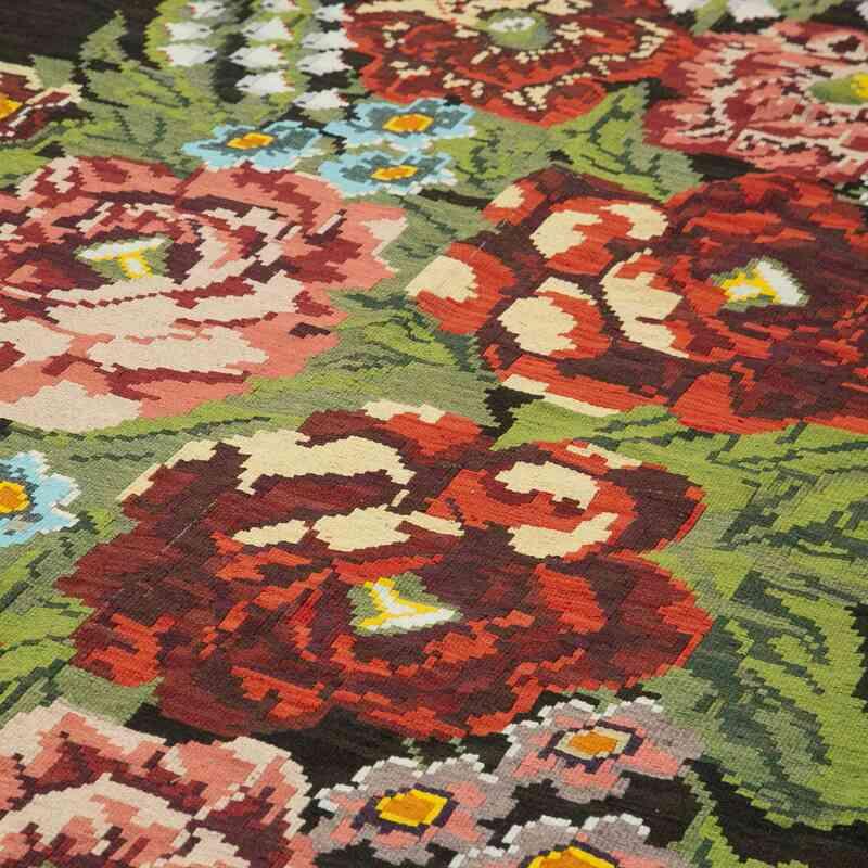 """Multicolor Vintage Handwoven Moldovan Kilim Area Rug - 7' 7"""" x 15'  (91 in. x 180 in.) - K0039197"""