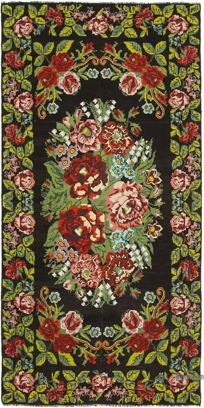 "Vintage Handwoven Moldovan Kilim Area Rug - 7' 7"" x 15'  (91 in. x 180 in.)"