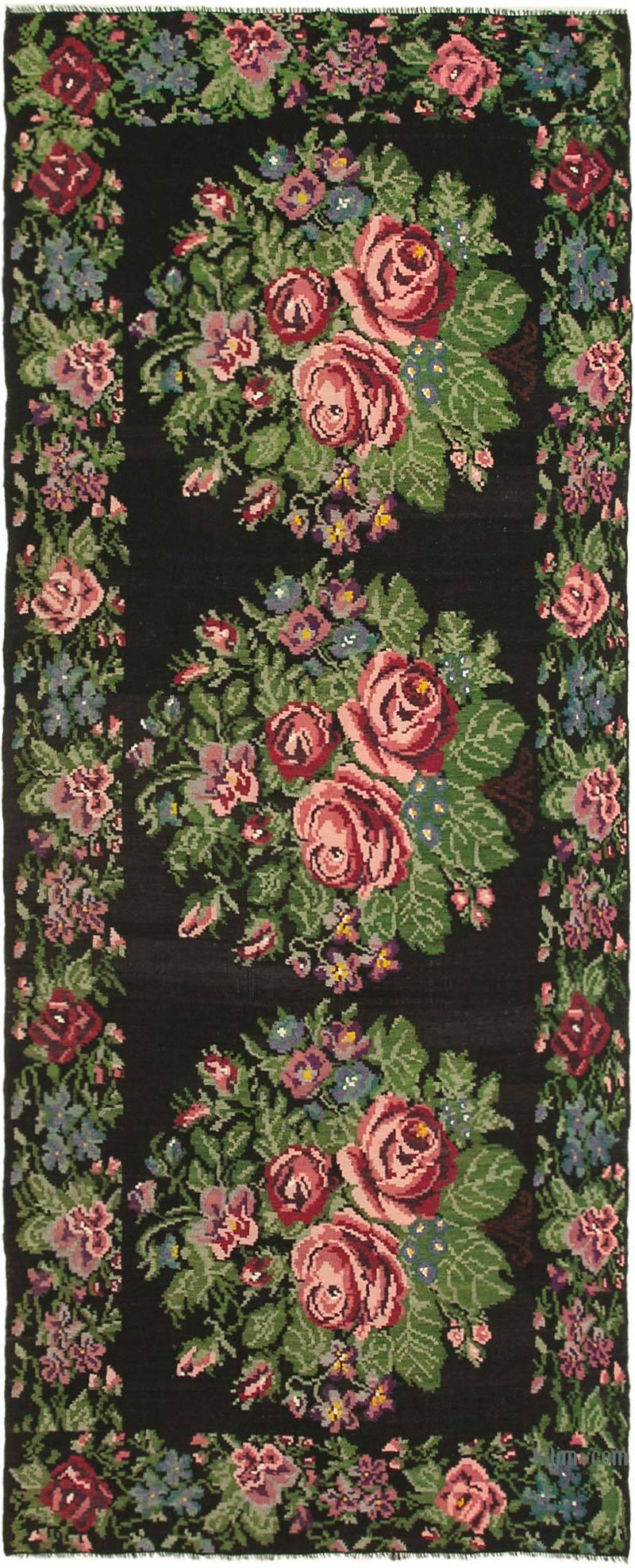 """Multicolor Vintage Handwoven Moldovan Kilim Area Rug - 6' 5"""" x 15' 5"""" (77 in. x 185 in.) - K0039198"""