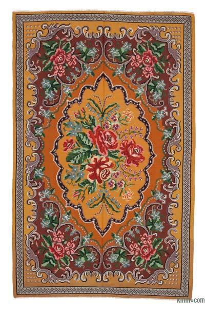 "Vintage Handwoven Moldovan Kilim Area Rug - 6' x 9'6"" (72 in. x 114 in.)"