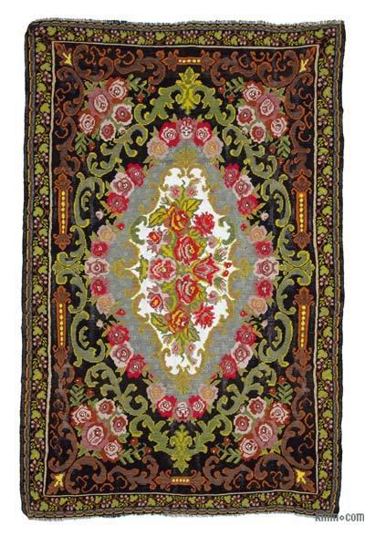 "Vintage Handwoven Moldovan Kilim Area Rug - 7' 10"" x 12' 4"" (94 in. x 148 in.)"