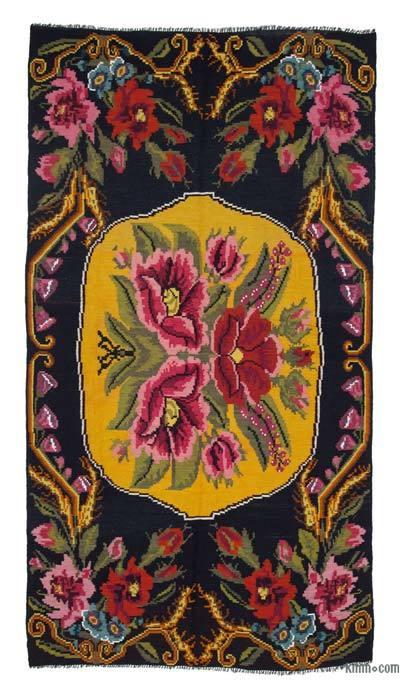 "Vintage Handwoven Moldovan Kilim Area Rug - 5' 9"" x 10' 7"" (69 in. x 127 in.)"