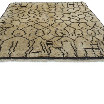 Beige, Brown New Contemporary Hand-Knotted Wool Area Rug - K0039220
