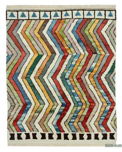 "Multicolor New Contemporary Hand-Knotted Wool Area Rug - 7' 3"" x 8' 10"" (87 in. x 106 in.)"