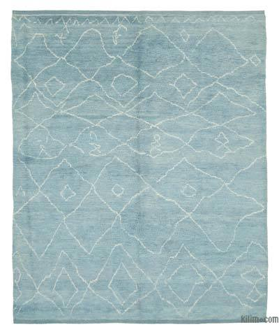 """Blue Moroccan Style Hand-Knotted Tulu Rug - 8' 2"""" x 10' 1"""" (98 in. x 121 in.)"""
