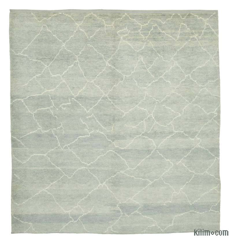 """Grey New Contemporary Hand-Knotted Wool Area Rug - 8' 2"""" x 9' 6"""" (98 in. x 114 in.) - K0039235"""