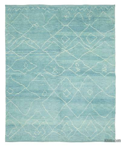 "Blue New Contemporary Hand-Knotted Wool Area Rug - 7' 9"" x 9' 7"" (93 in. x 115 in.)"