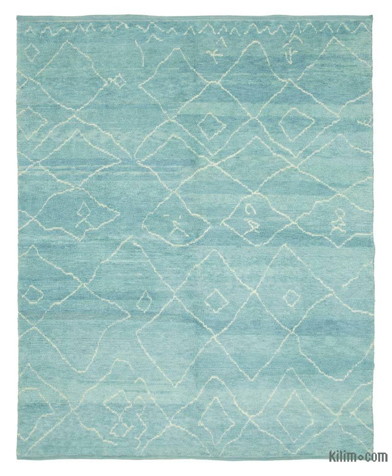 """Blue New Contemporary Hand-Knotted Wool Area Rug - 7' 9"""" x 9' 7"""" (93 in. x 115 in.) - K0039239"""