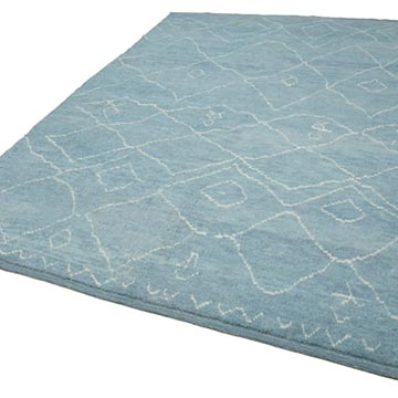"""Blue Moroccan Style Hand-Knotted Tulu Rug - 7' 8"""" x 10' 3"""" (92 in. x 123 in.) - K0039242"""
