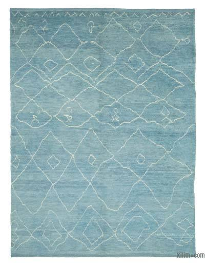 """Blue Moroccan Style Hand-Knotted Tulu Rug - 7' 8"""" x 10' 3"""" (92 in. x 123 in.)"""