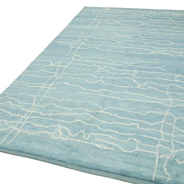 """Blue Moroccan Style Hand-Knotted Tulu Rug - 6' 3"""" x 10'  (75 in. x 120 in.) - K0039243"""