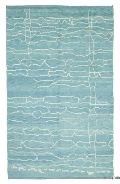 "Blue New Contemporary Hand-Knotted Wool Area Rug - 6' 3"" x 10'  (75 in. x 120 in.)"