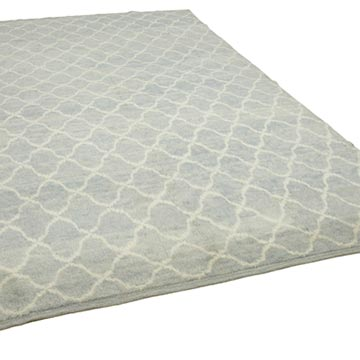 """Blue New Contemporary Hand-Knotted Wool Area Rug - 7' 8"""" x 11' 2"""" (92 in. x 134 in.) - K0039245"""