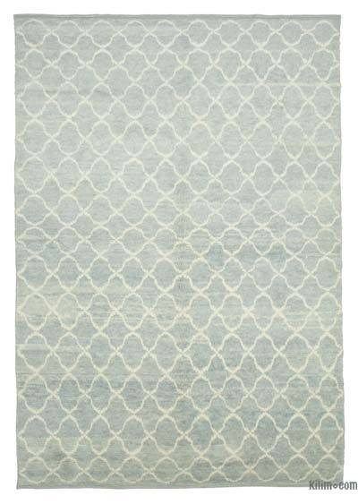 "Blue New Contemporary Hand-Knotted Wool Area Rug - 7' 8"" x 11' 2"" (92 in. x 134 in.)"