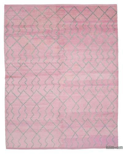 """Pink New Contemporary Hand-Knotted Wool Area Rug - 7' 10"""" x 9' 9"""" (94 in. x 117 in.)"""